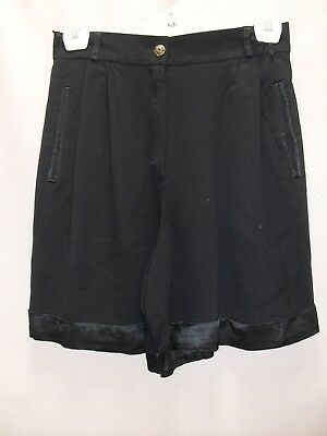 1980's Vintage High Waisted Crepe Shorts with Satin Trim.