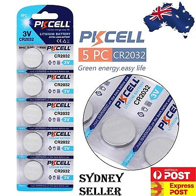 5 Brand New PKCELL CR2032 Button Cell 3v Lithium battery GENUINE EXPIRY 2023