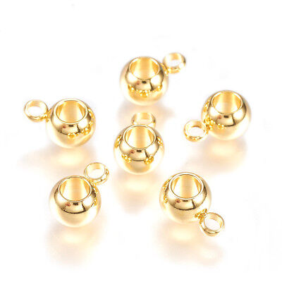 50pcs Gold Tone 304 Stainless Steel Bail Beads Smooth Tiny Pendant Holders 8.5mm