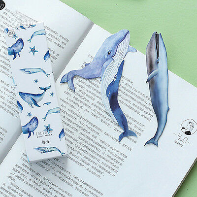 30Pcs/Pack Vivid Giant Whale Bookmark Paper Cartoon Animals Bookmark School