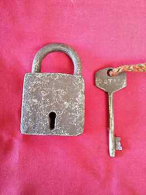 Old Antique Solid Heavy Strong Iron/brass Handcrafted Pad Lock,collectible #3629