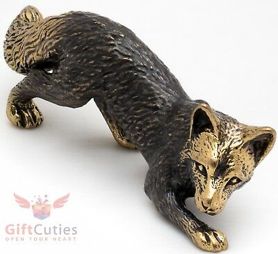 Solid Brass Figurine of Fox crouching hunting IronWork