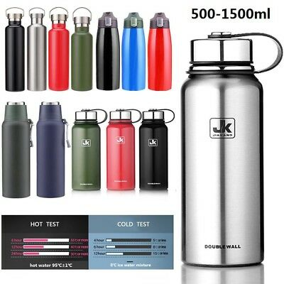 Double Walled Vacuum Insulated Water Bottle Stainless Steel Water Flask 0.5-1.5L