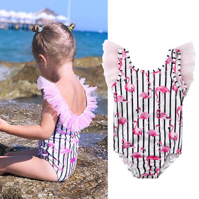 Kids Girls Flamingo Printed Tulle Swimwear Costume Bikini Swimsuit Bathing Suit
