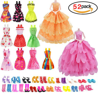52 Pcs/ Set Doll Clothes Outfits and Accessories for Barbie Present for Girls