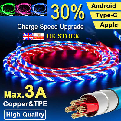 1M LED Micro USB Data Sync Charger Cable Fast Charging for iPhone Type-C Android