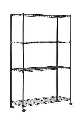 """Sandusky Mws481872 4-Tier Mobile Wire Shelving Unit With 2"""" Nylon Casters, 4 72"""