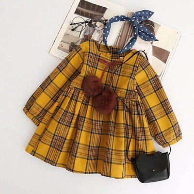 Spring Baby Girls Long Sleeve Dress Princess Party Prom Plaid Bowknot Dresses CU