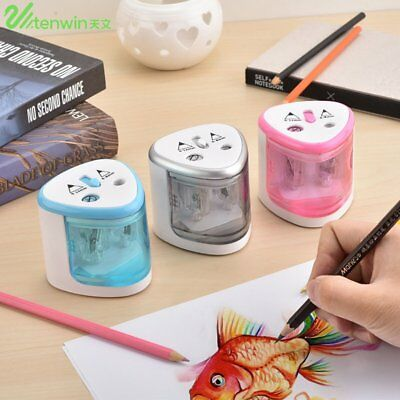 Electric Automatic Pencil Sharpener Dual Holes Battery Operated Office School KK