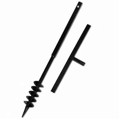 Ground Drill 80mm Steel Hand Manual Post Hole Digger with Handle Auger Bit Black