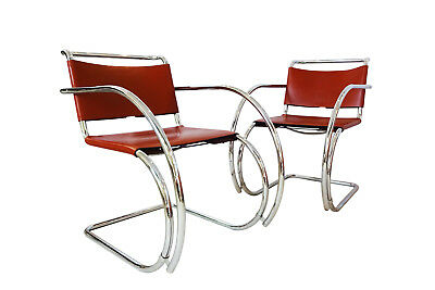 2 Armchairs in Cognac leather & chrome MR20 Knoll Mies van der Rohe MR20