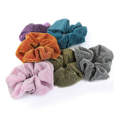 Women Lady Glitter Scrunchies Elastic Ponytail Holder Shiny Rubber Band Hair Tie