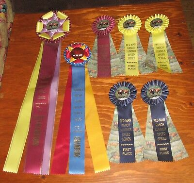 7 Horse Show Ribbons Rodeo Champion, Reserve Champion, First, Second & Third Lot