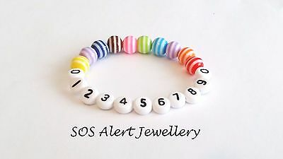 HOLIDAY MUST HAVE Lost Child Emergency Phone Number Alert Stretch Bracelet 6""