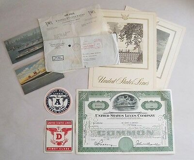 United States Line Cruise Ship 1950 Stock Menu Covers Luggage Tag SS America