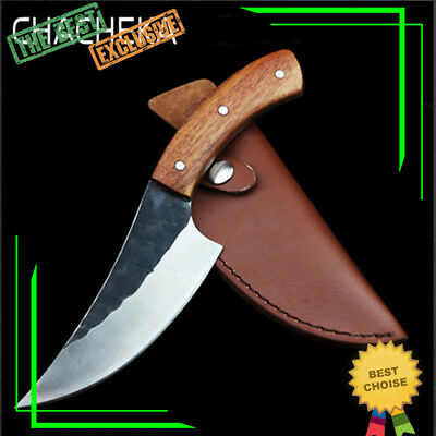High Carbon Steel Hunting Knife Hand Forged Fixed Blade Straight Knives Camping
