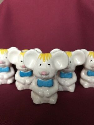 "Five White Mice Vintage Ceramic Macrame 3"" Tall Beads"