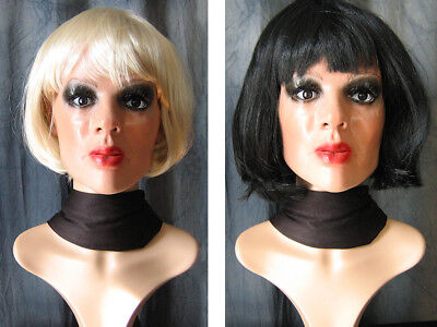 Latexmaske MARILYN, WIMPERN, 2 PERÜCKEN - Real. Frau Maske Latex Crossdresser