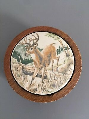 New w/out Box Avon Deer Soap Dish Holder Wooden Vintage Rustic