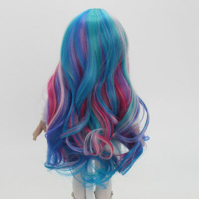 Colorful Wavy Curly Hair Wig for 18inch American GIrl Doll DIY Supplies ACCS
