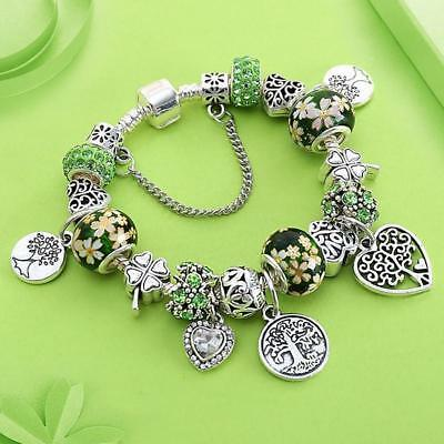 Tree of Life Charm Pandora Bracelet made with Antique Silver Color Heart Bangles
