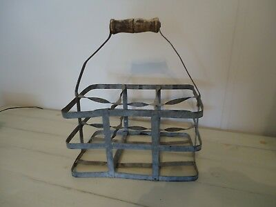"""Authentic, Antique French """"6 Bottle Wine Carrier/Caddy"""" Zinc, Industrial Look"""