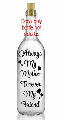 Mother friend christmas vinyl decal sticker diy gift craft wine bottle candle