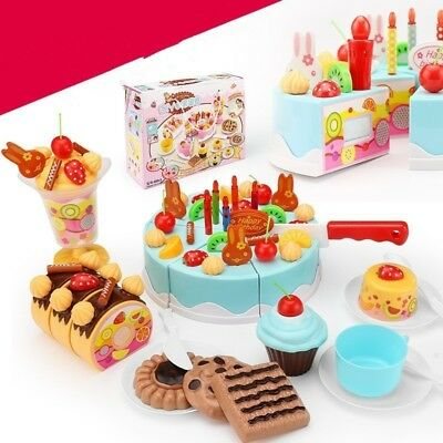 38pc Pretend Role Play Kitchen Toy Birthday Cake Food Cutting Set