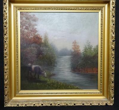 Antique Oil on Canvas Landscape Painting w/ Stream & Cow Late 19th Century