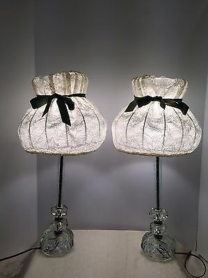 Vintage Pair BOUDOIR Etched CUT CRYSTAL Table Lamps CANDLESTICK w/silver rings