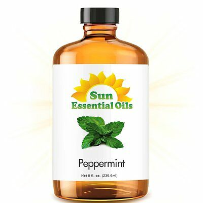 Best Peppermint Essential Oil (Huge 8oz) 100% Pure Amber Bottle + Dropper