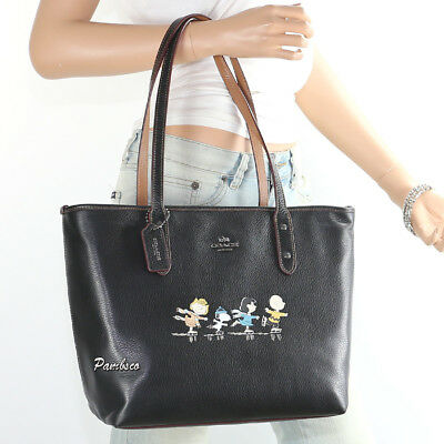 NWT Coach Peanuts Snoopy Ice Skating Leather Shoulder Bag City Tote Black 18904