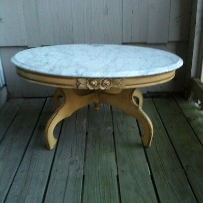Victorian Parlor Coffee Table; Marbletop;