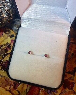 Brilliant natural Dusky Pink Tourmaline 3mm sterling silver stud earrings 💅