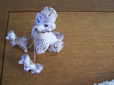 VTG  #'d Poodle Dog Porcelain Spaghetti Mom and Puppies~White w/ Gold Trim