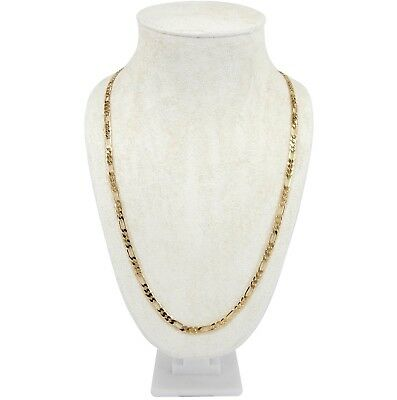 """14k Italian Figaro Link Chain 4mm Necklace 18"""", 20"""", 24"""", 30"""" inch Gold Plated"""
