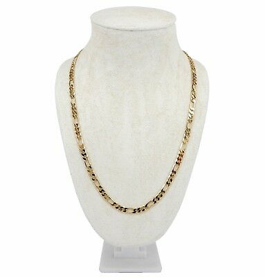 """Men's 5mm Italian Figaro Link Chain Necklace 18"""" 20"""" 24"""" 30"""" inch 14K Gold Plate"""