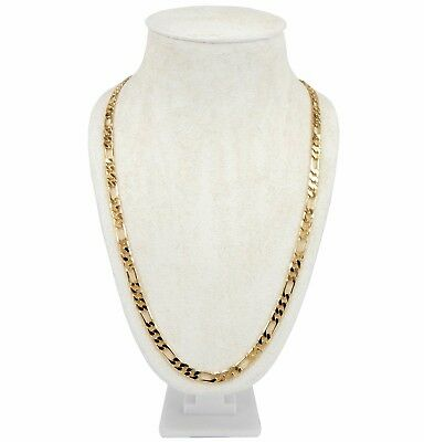 "14k Italian Figaro Link Chain 6mm Necklace 20"" 24"" 30"" inch Gold Plated"