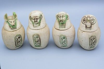 Vintage Egyptian Statues Canopic  Hand Painted