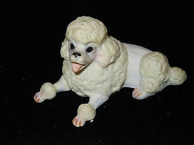 Small Enesco Porcelain White Poodle Dog Figurine Animal Collectible