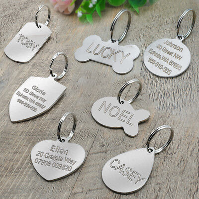 Stainless Steel Personalized Dog Tags Bone Round Military ID Name Tags Sliver