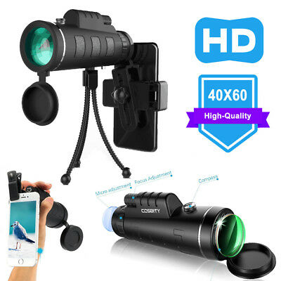 40X60 Zoom Optical HD Lens Monocular Telescope+ Tripod+ Clip For iPhone Samsung