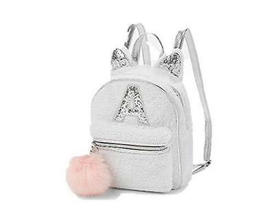 """Justice Girls Sherpa Kitty Mini Backpack Initial """"A"""" FREE SHIPPING"""