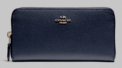New Coach 16612 Accordion Zip Pebbled Leather wallet Midnight
