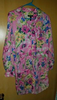 LAUREN Ralph Lauren 60766 PINK Floral Monogram His Shirt Dress Pajama SIZE L