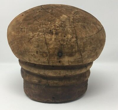 Vintage Wood Millinery Large Round Wood Hat Making Block Mold Crown Stand