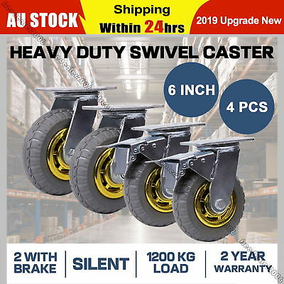 4x 6'' 150mm Heavy Duty Swivel Caster Wheels Castor 2 with Brakes 1200KG Load