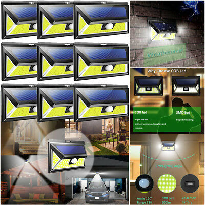 76 COB LED Solar PIR Motion Sensor Wall Light Outdoor Waterproof Garden Lamp
