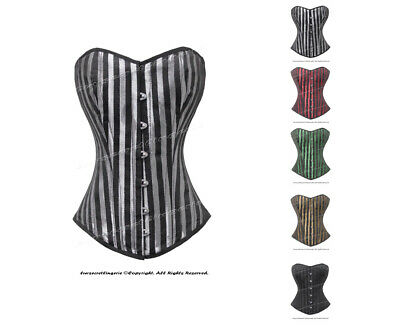 Heavy Duty 26 Double Steel Boned Waist Training Brocade Overbust Corset 9974-STR