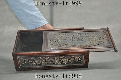 "Chinese huanghuali wood hand carved beast dragon fish""福""statue storage box boxes"